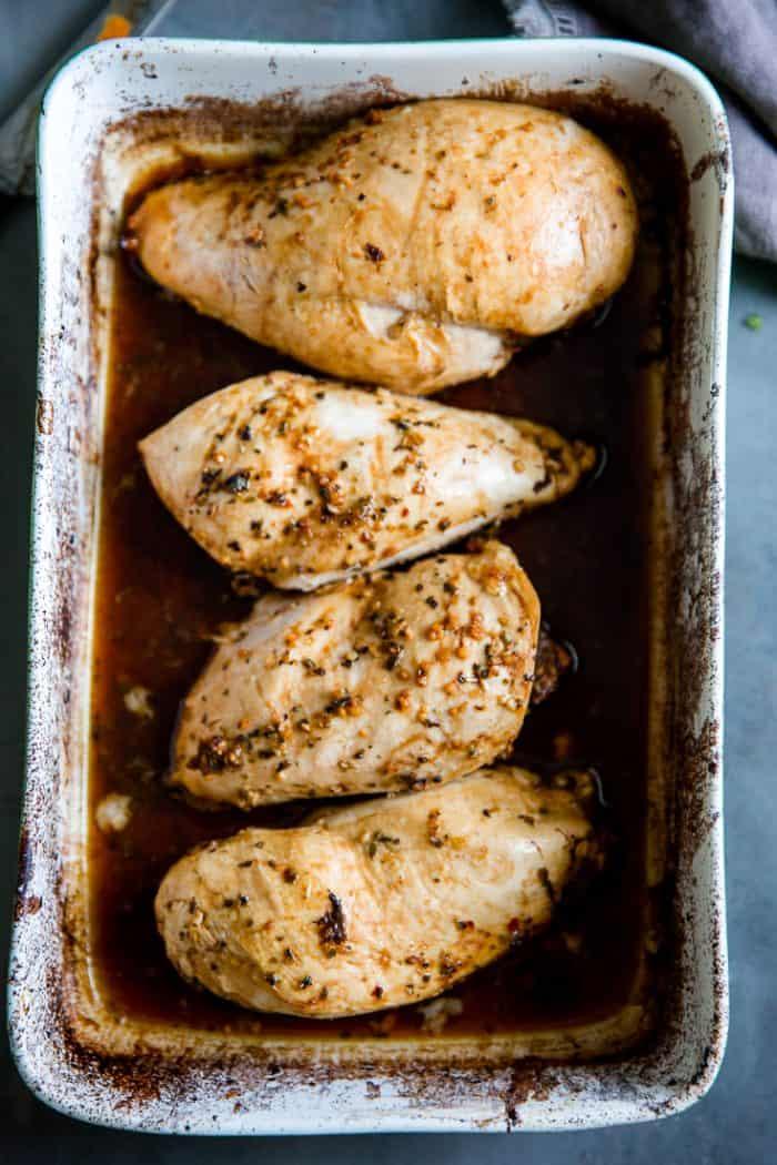 balsamic chicken in baking dish