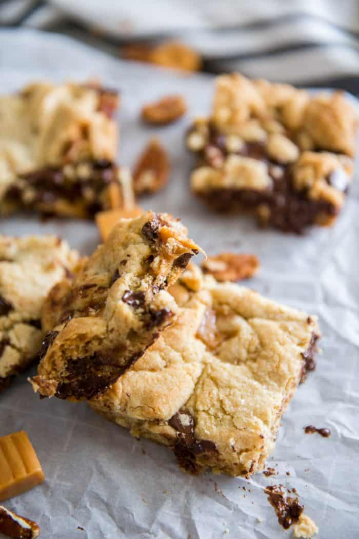 chocolate chip cookie bars with a bite