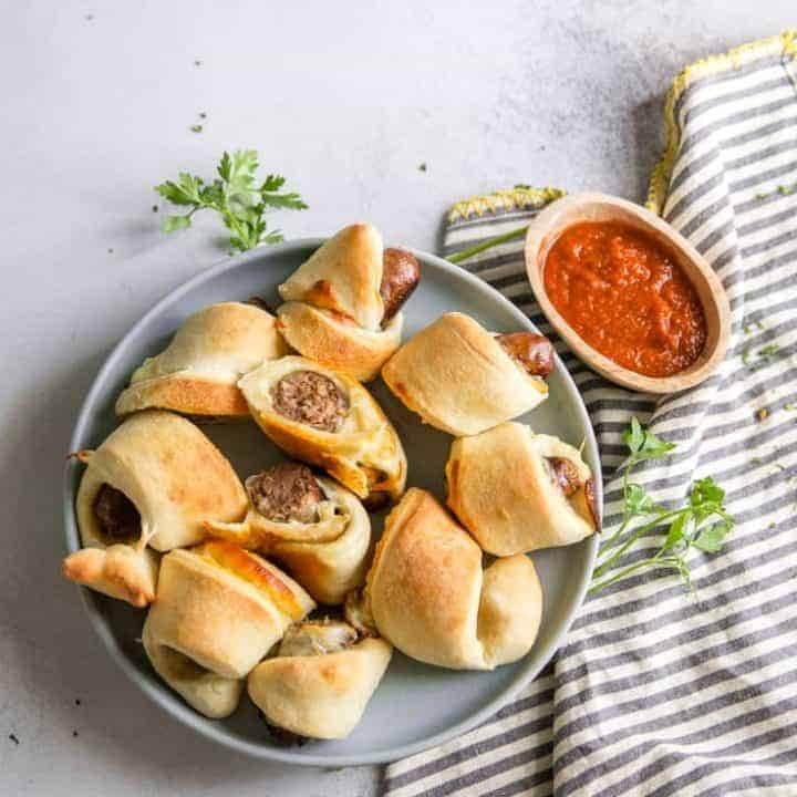 Pigs in a blanket with sausage