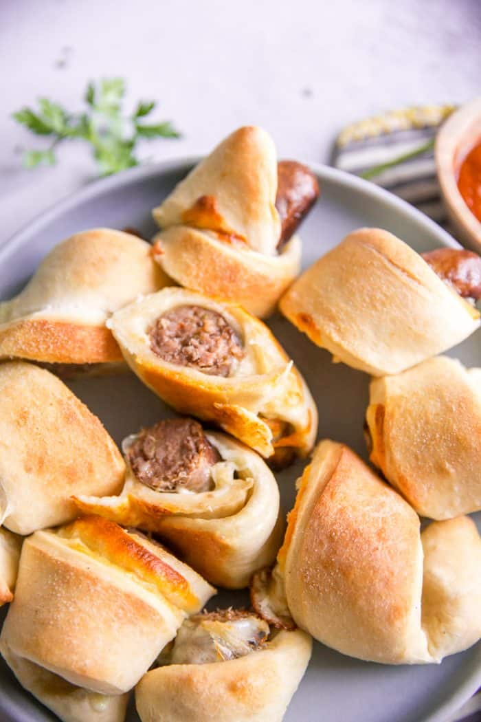 Pigs in a blanket blue plate