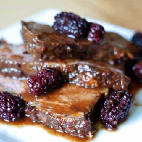 Crockpot Beef Brisket in Balsamic Blackberry Sauce