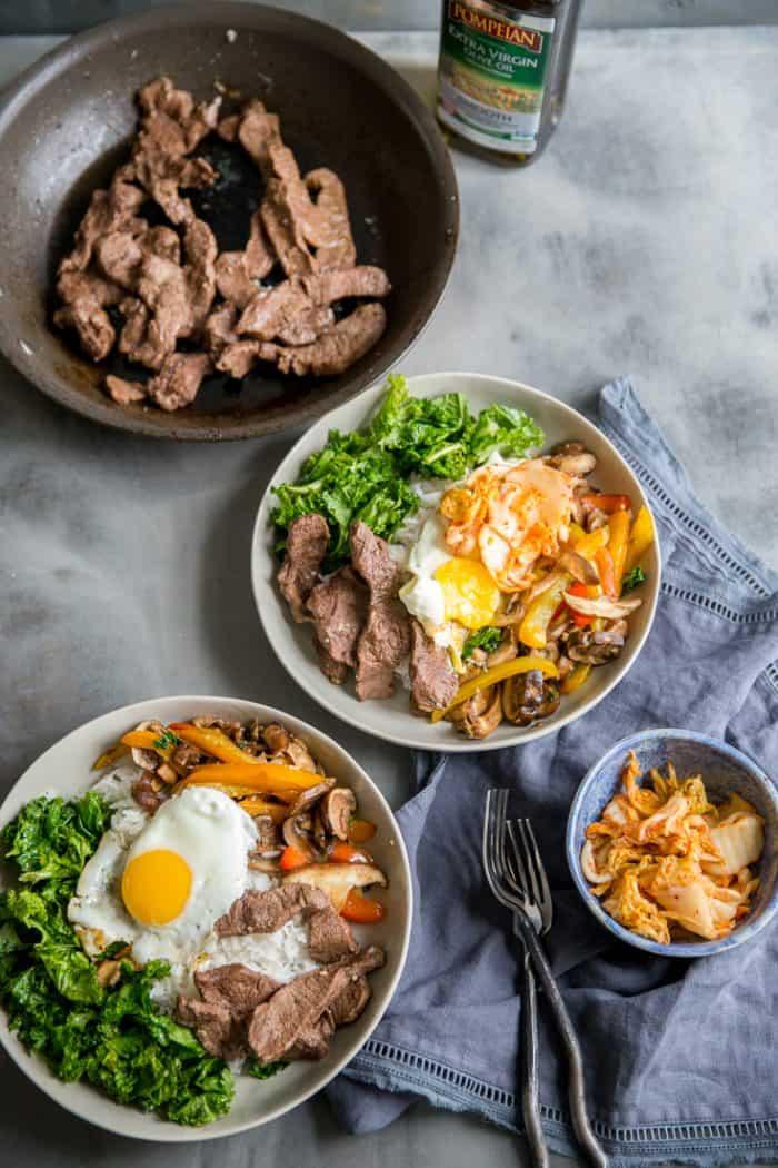 bibimbap two bowl and beef