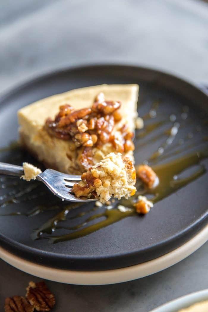 peca pie cheesecake slice with fork