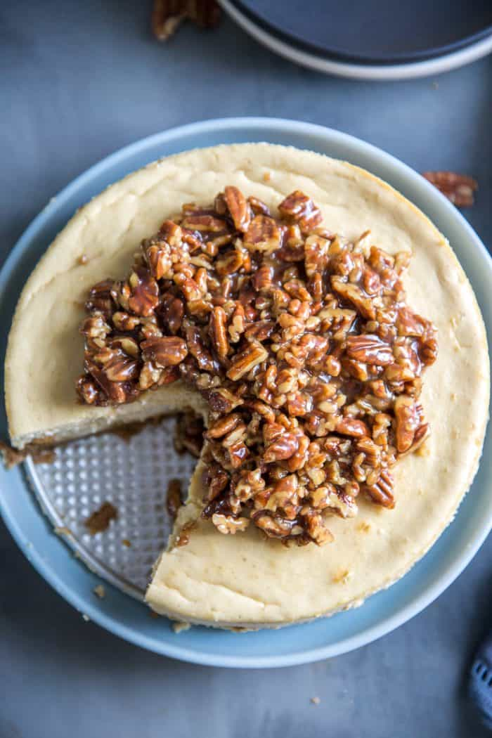 pecan pie cheesecake top down view