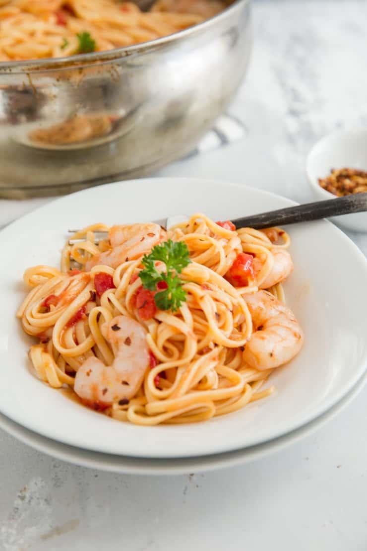 bowl of shrimp diablo pasta