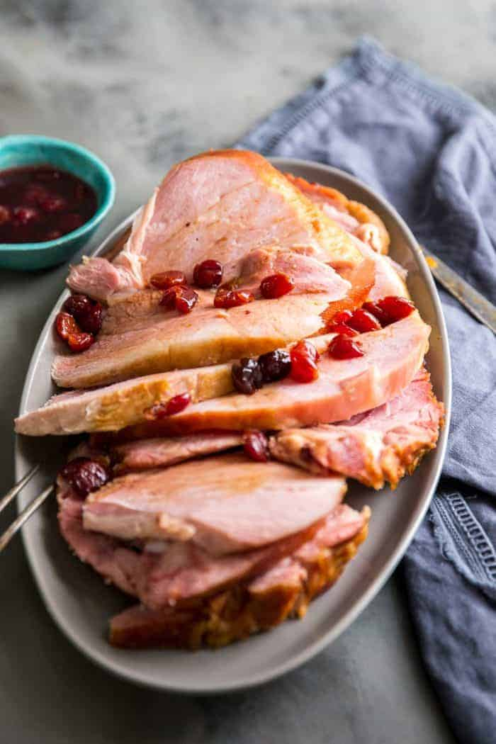 Baked ham sliced on a platter