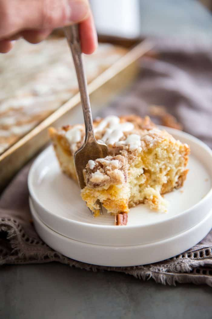 Cinnamon coffee cake with a fork