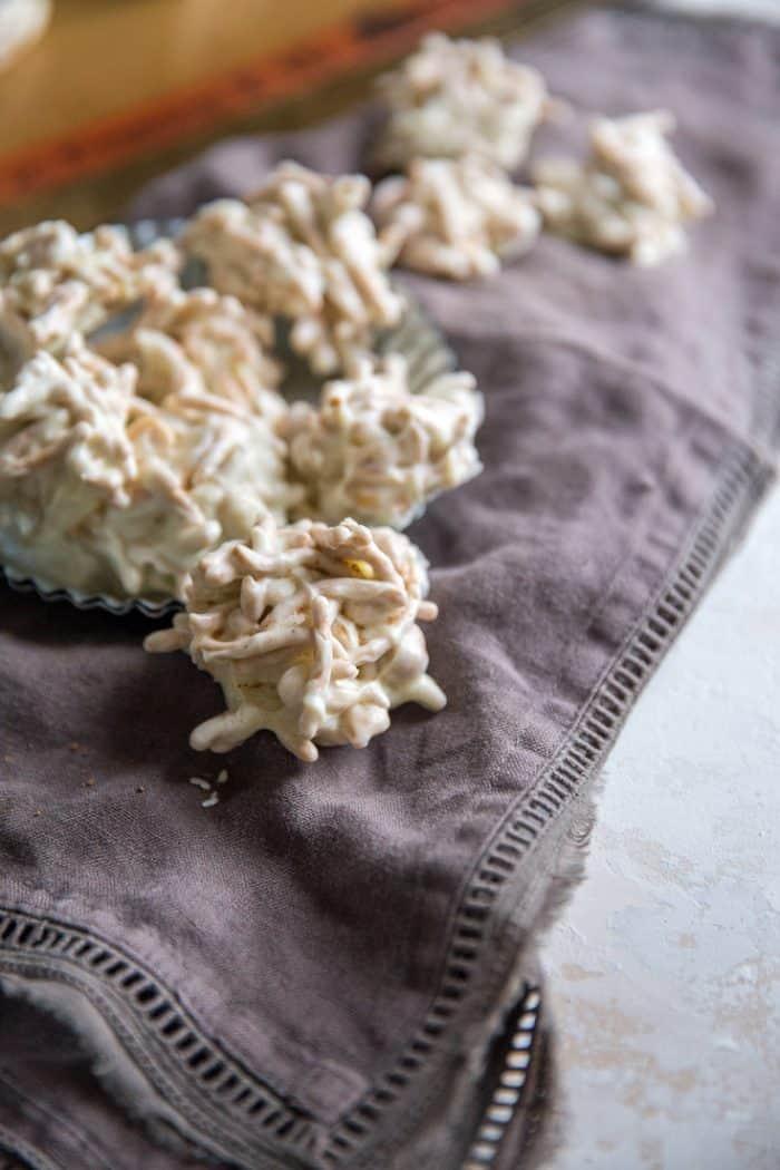 Haystack recipe on towel one set aside
