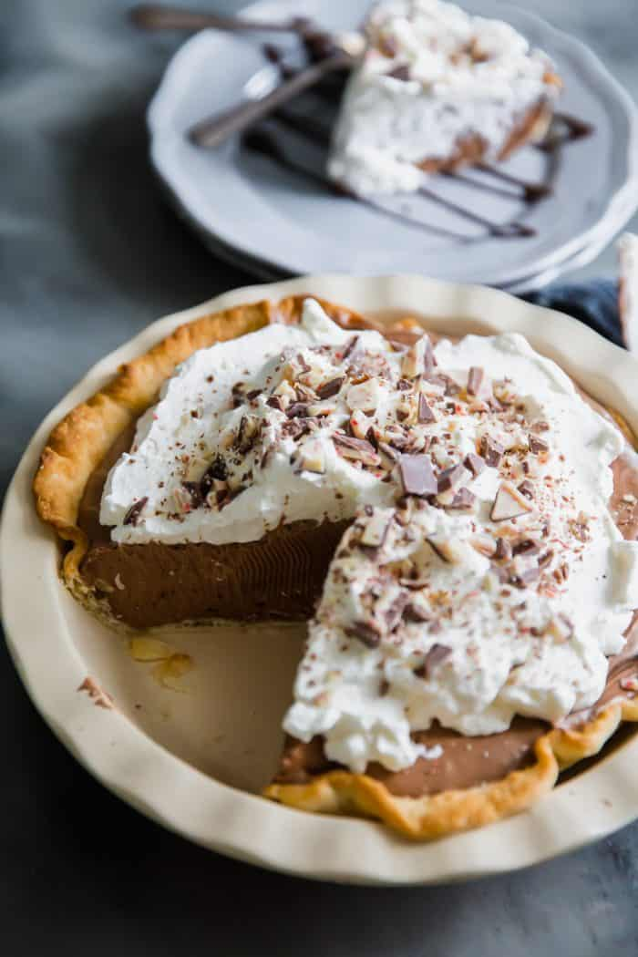 hot chocolate pie with a piece missing