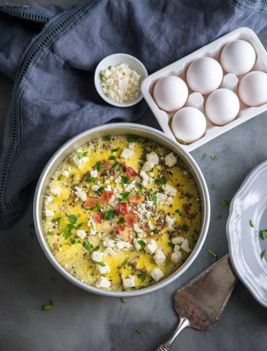 Breakfast egg casserole whole with feta