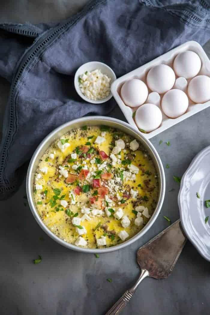 Breakfast egg casserole whole with feta