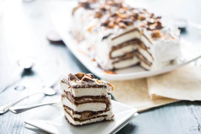 Ice cream cake slice on the side