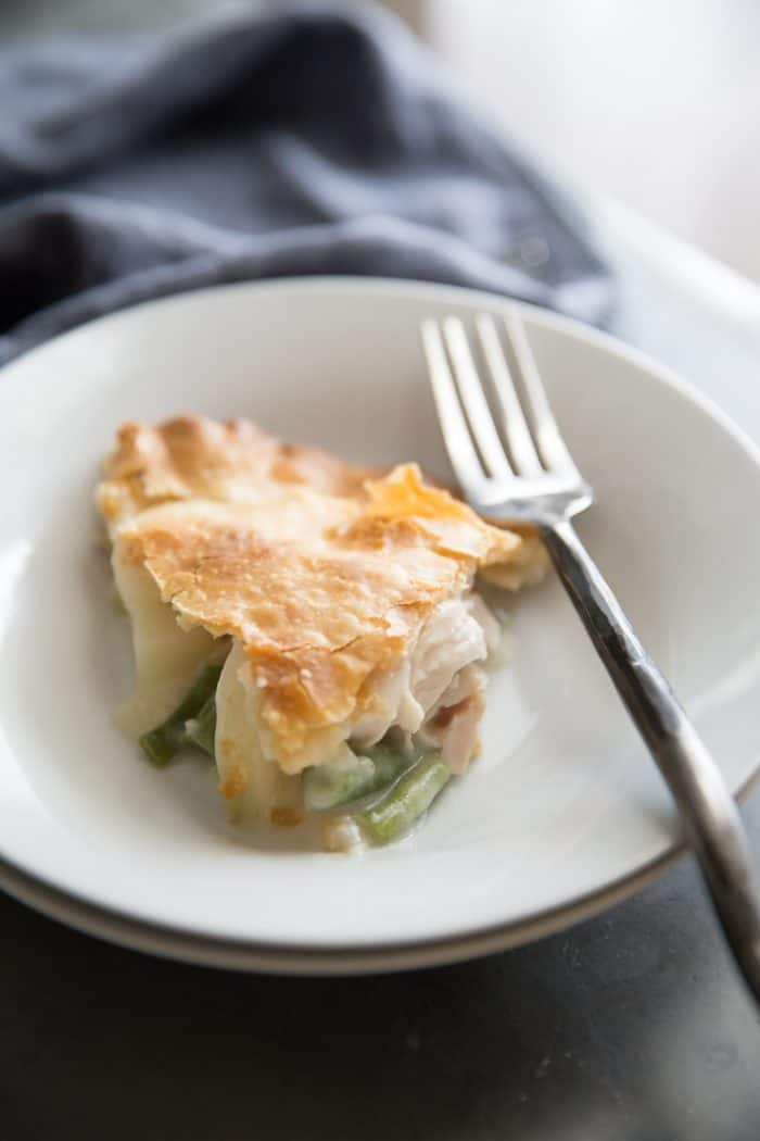 Turkey Pot pie recipe one slice with fork