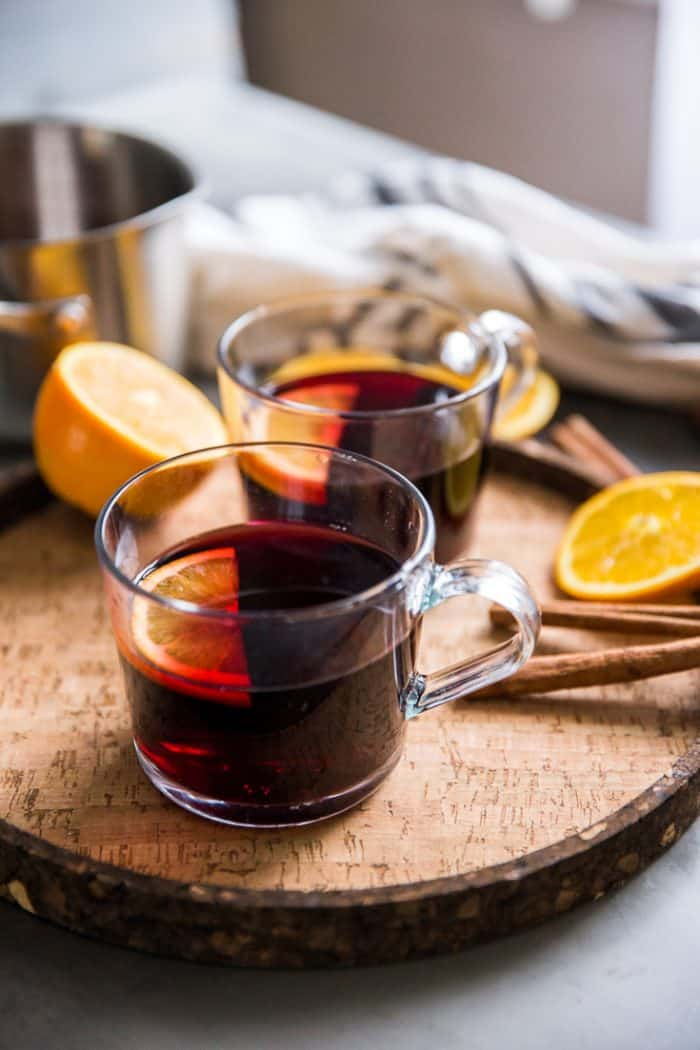 Warm red wine sangria on a tray