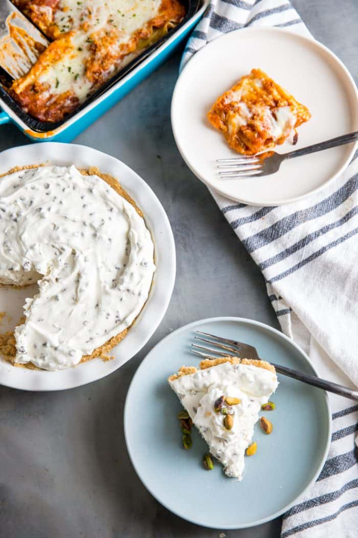 Cannoli cheesecake and sliced lasagna