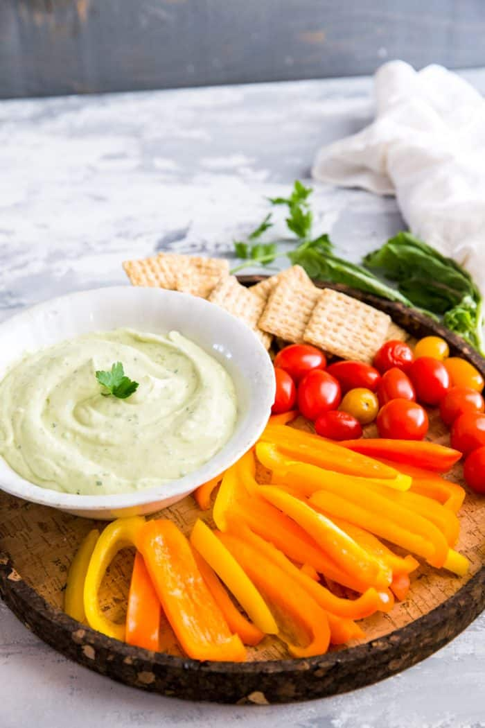 Green goddess dip with parsley
