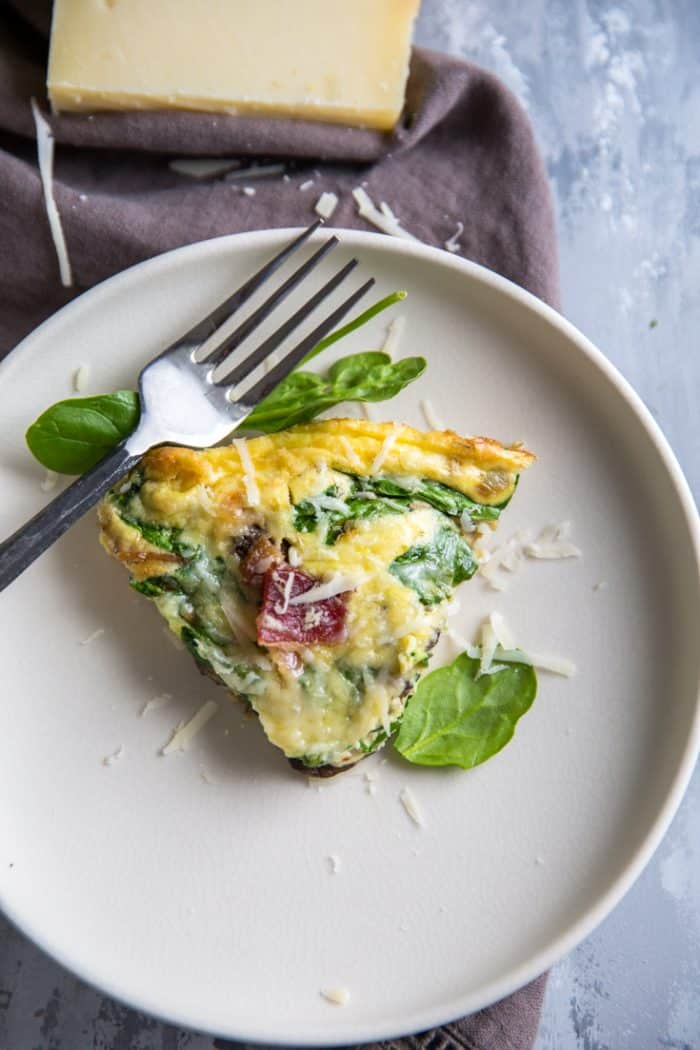 spinach frittata slice served