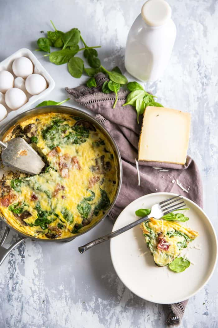 spinach frittata with a piece on the side