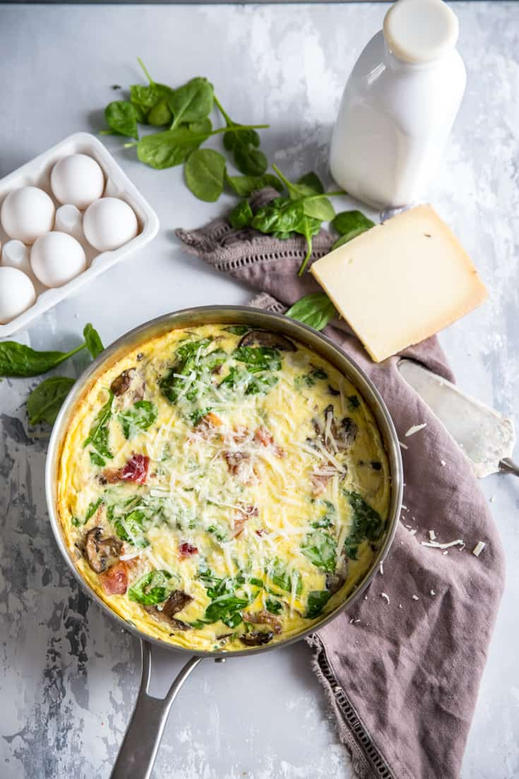 Frittata skillet with eggs on the side