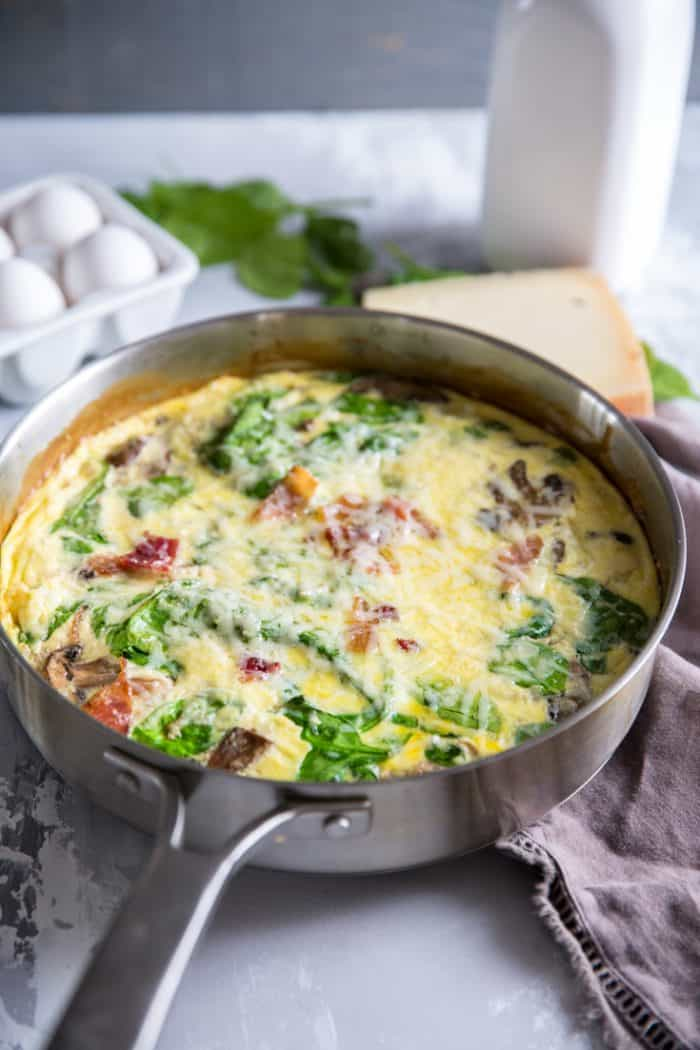 Spinach frittata silver skillet
