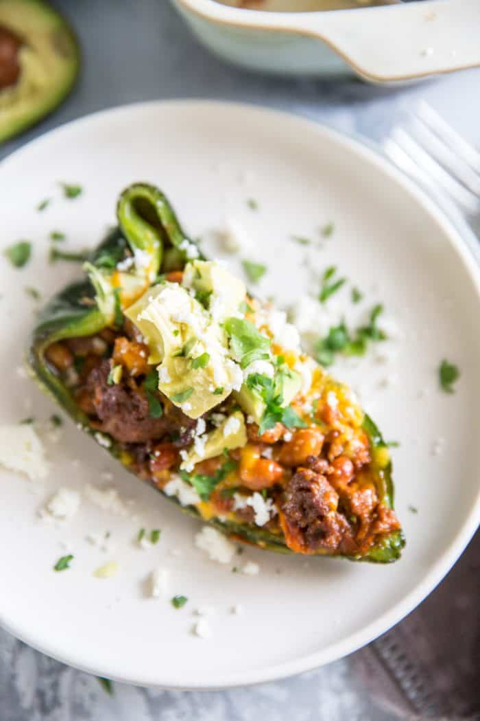 one stuffed poblano pepper