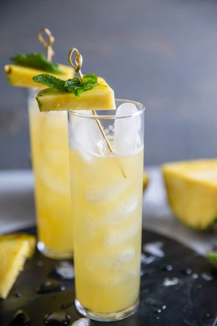 vodka cocktail with pineapple wedge