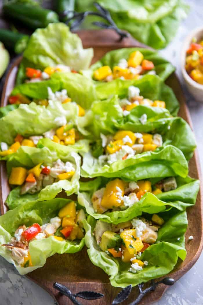 chicken lettuce wraps together on a tray