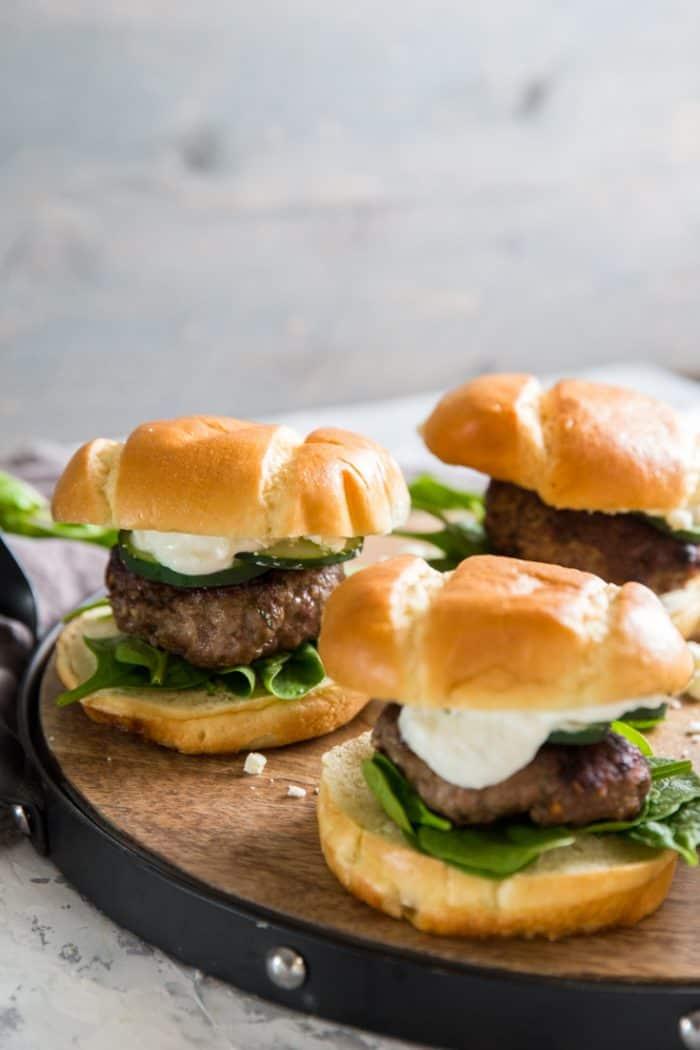 Lamb burger with sauce