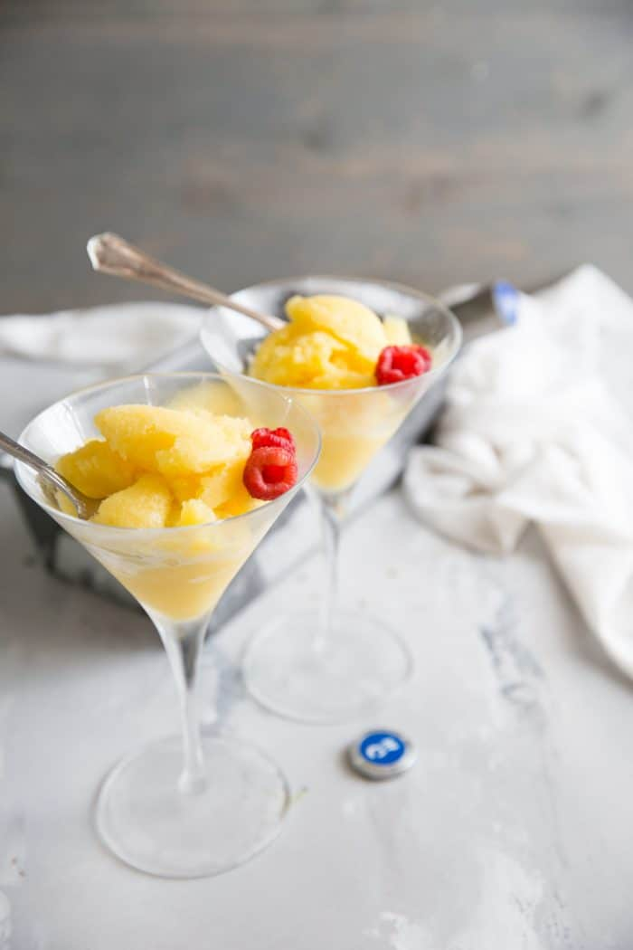 Mango rum punch sorbet recipe two glasses