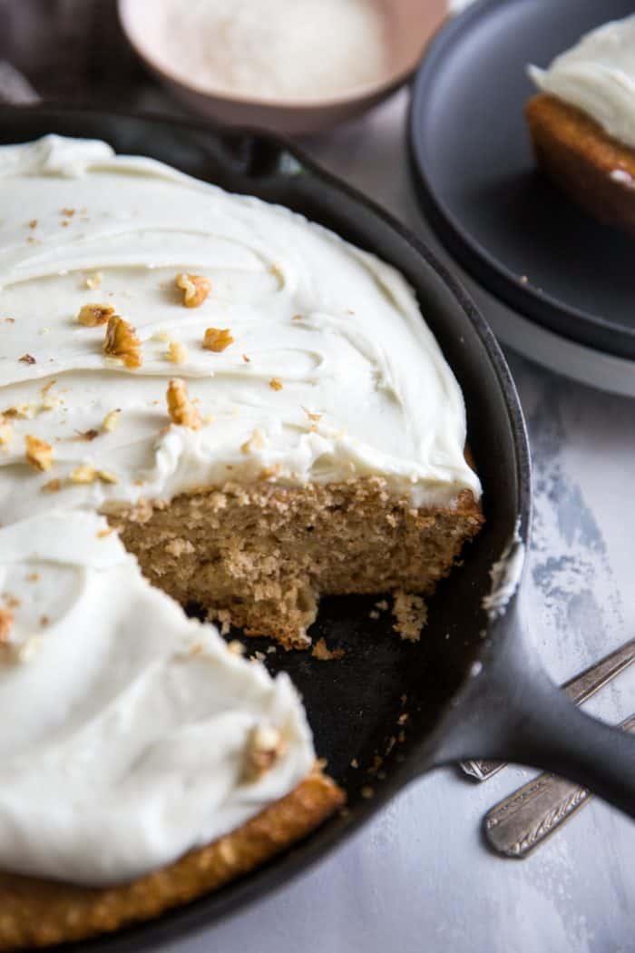 Skillet Hummingbird cake slice missing