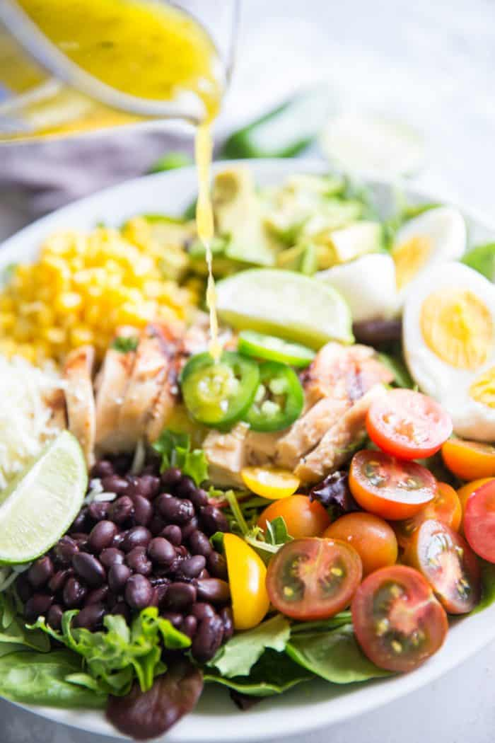 Cobb salad with dressing