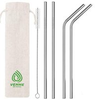 "VEHHE Metal Straws Stainless Steel Straws Drinking Straws Reusable FDA BPA - 10.5"" Ultra Long 4 + 1 - W/Cleaning Brush for 20/30 Oz for Yeti RTIC SIC Ozark Trail Tumblers (2 Straight