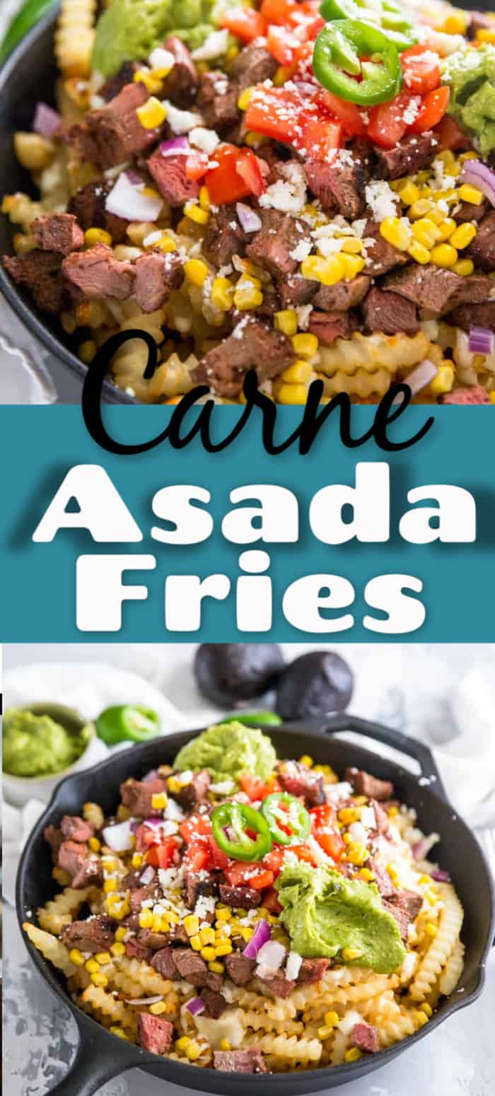 A dish is filled Carne asada and Beef