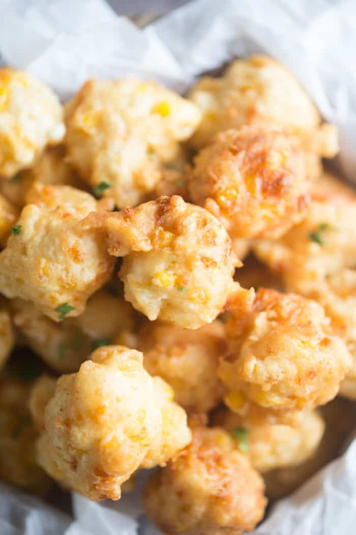 corn fritters close up