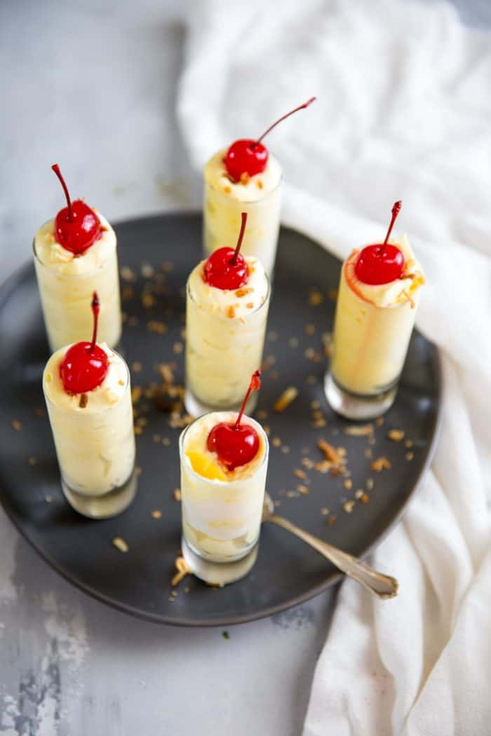 Pina Colada pudding shots 6 glasses