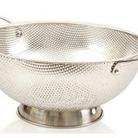 LiveFresh Stainless Steel Micro-perforated 5-Quart Colander - Professional Strainer with Heavy Duty Handles and Self-draining Solid Ring Base - Dishwasher Safe