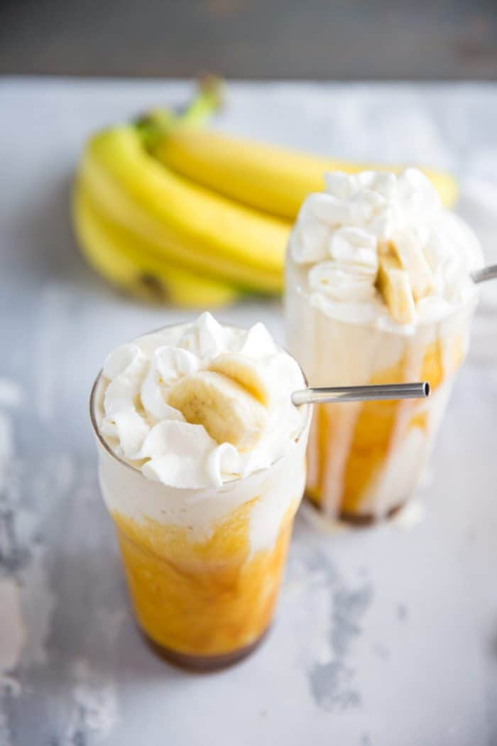 banana milkshakes with whipped cream