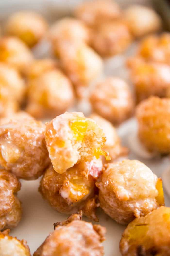peach fritter with a bite