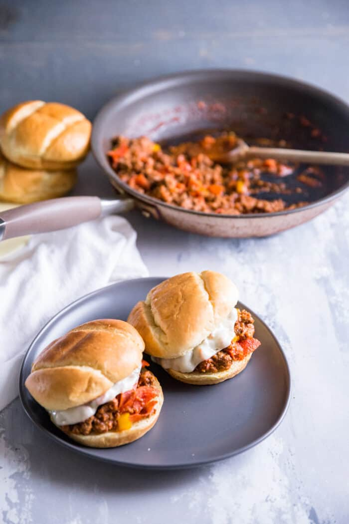 sloppy joe on gray plate
