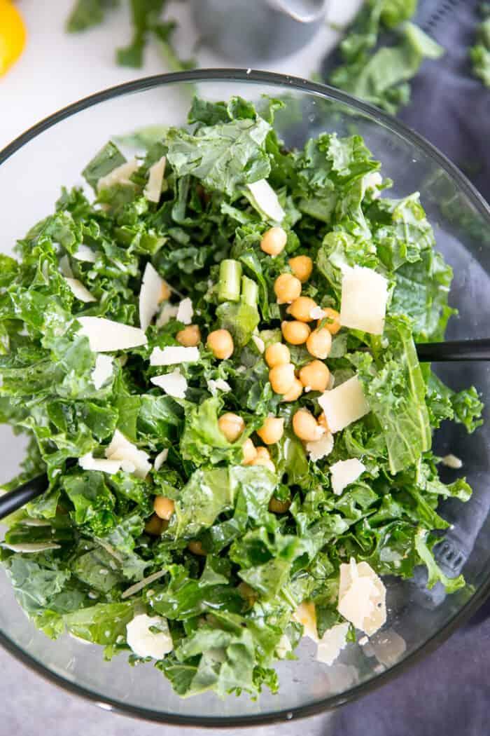 close up kale salad