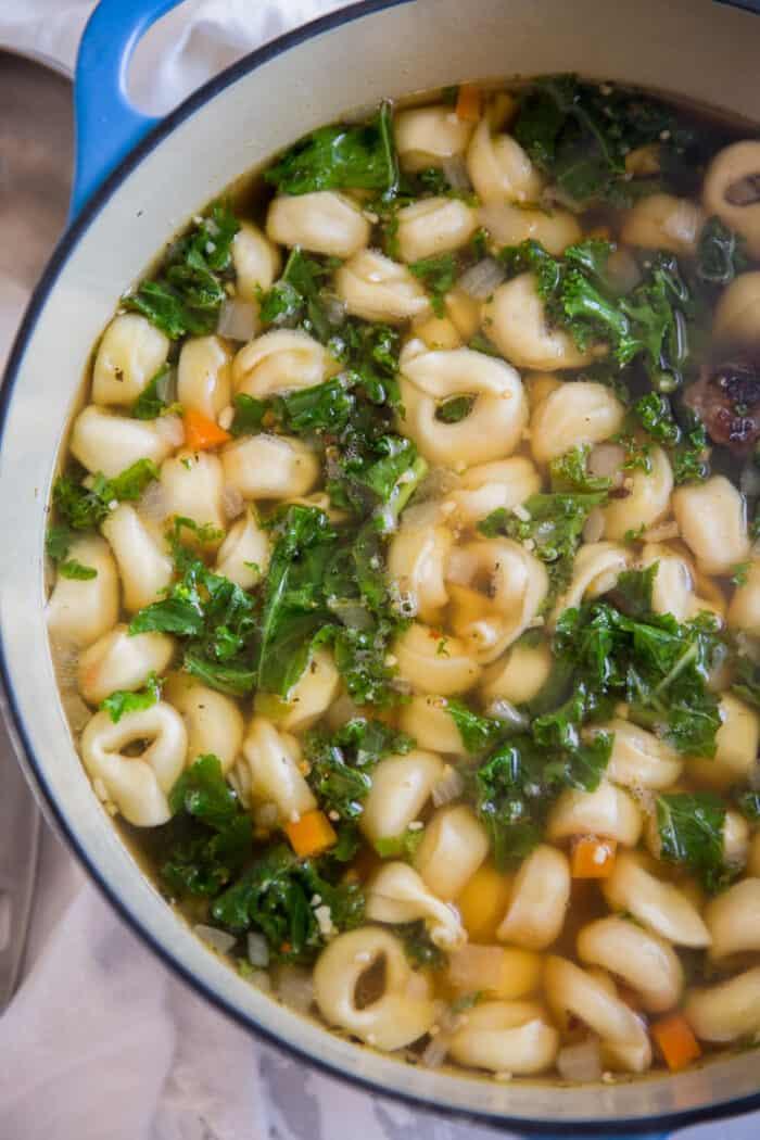 Italian Wedding soup blue pot