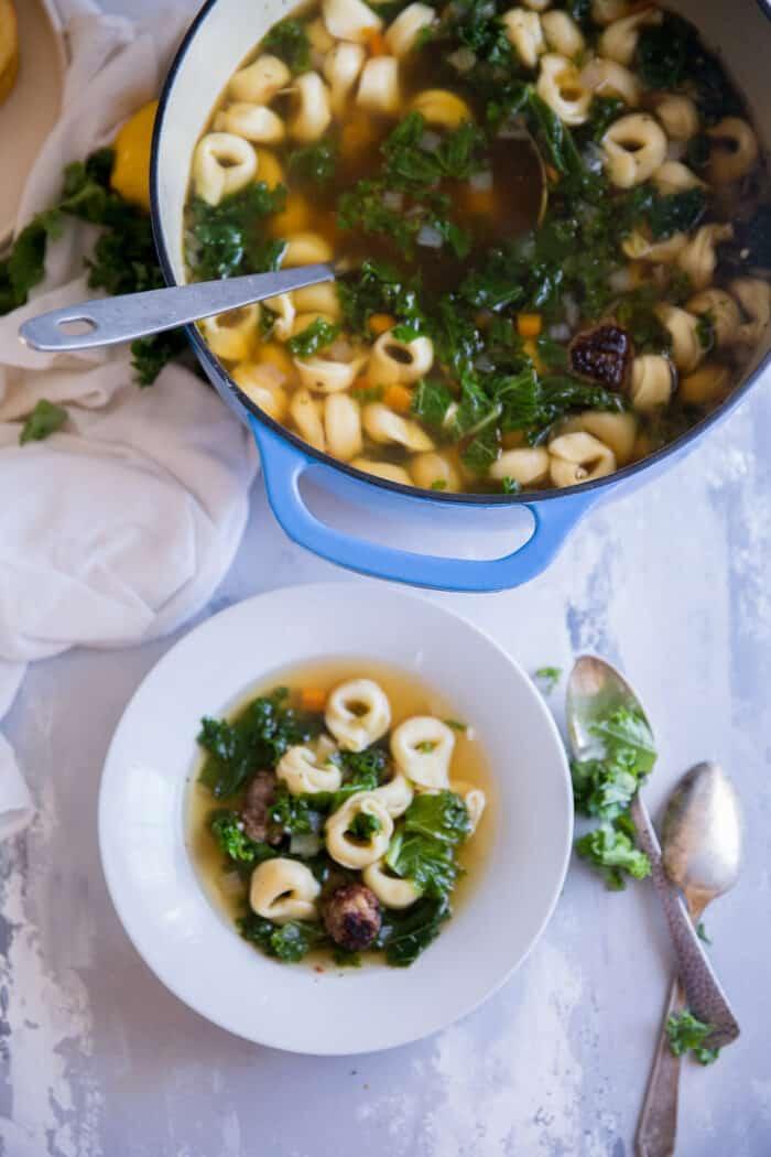Italian Wedding soup bowl and pot