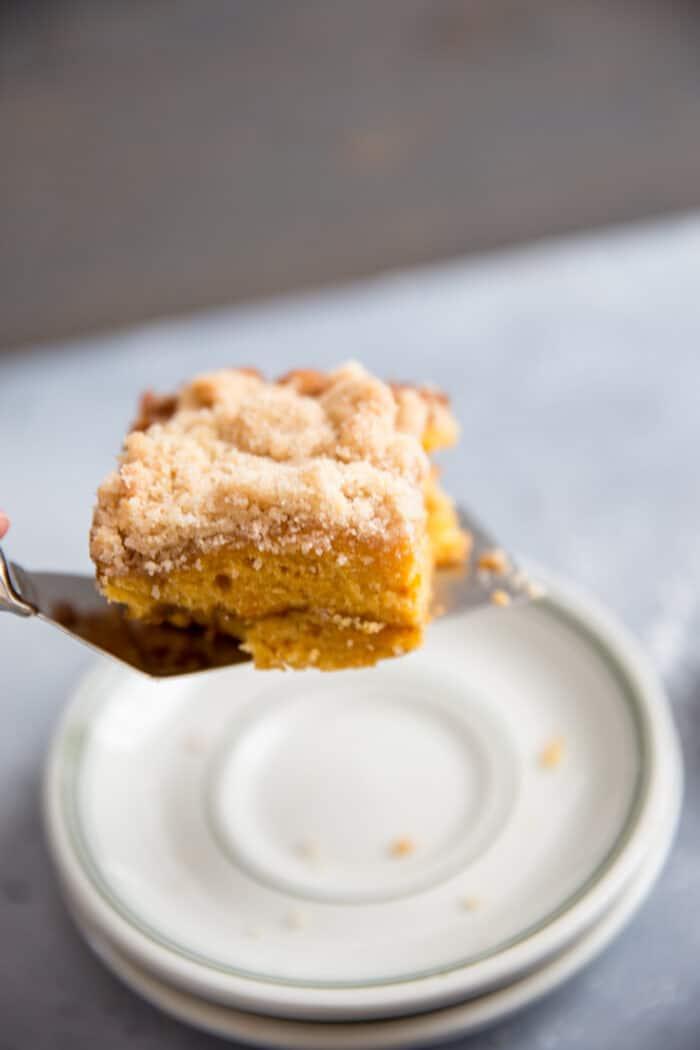 served slice sweet potato coffee cake