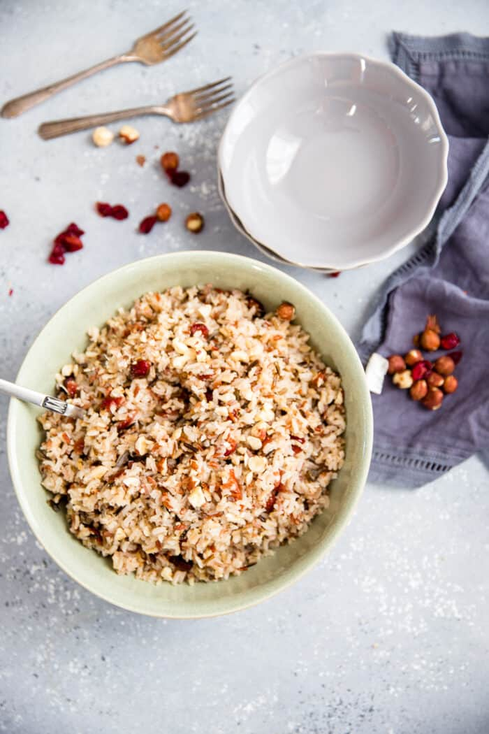 wild rice pilaf green bowl