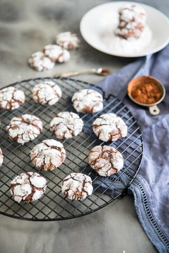 chocolate crinkle cookies baking rack