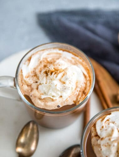 chai tea latte with chocolate and cinnamon