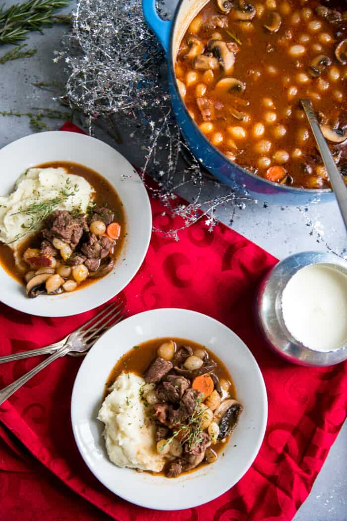 beef bourguignon Dutch oven and two bowls
