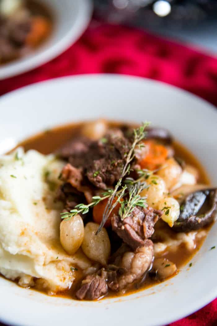 beef bourguignon white bowl