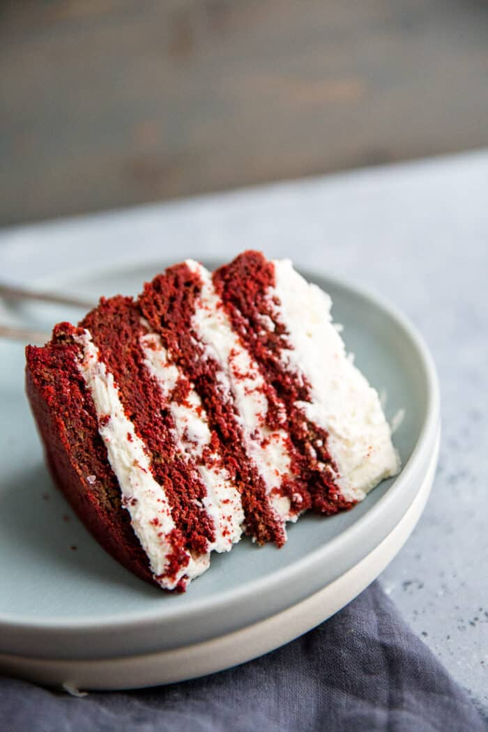 red velvet cookie cake on its side