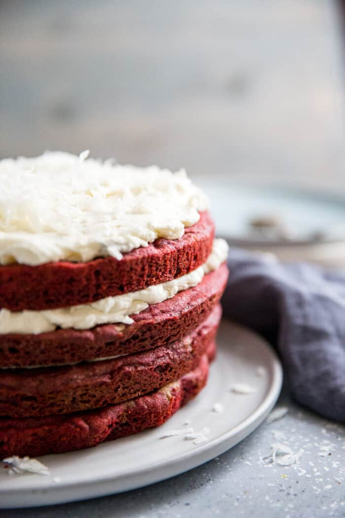 red velvet cookie cake with white chocolate buttercream